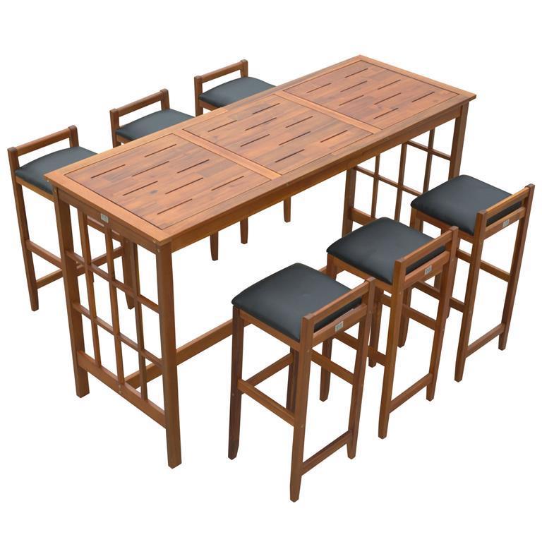 Tavolo Alto Con Sgabelli Per Cucina.Homcom Set Tavolo Alto Con 6 Sgabelli In Legno Seduta Imbottita