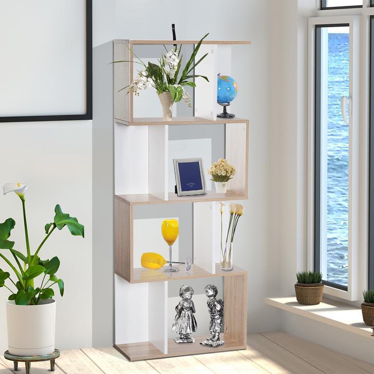 Homcom Libreria di Design Moderno 4 ripiani Legno Naturale e Bianco ...