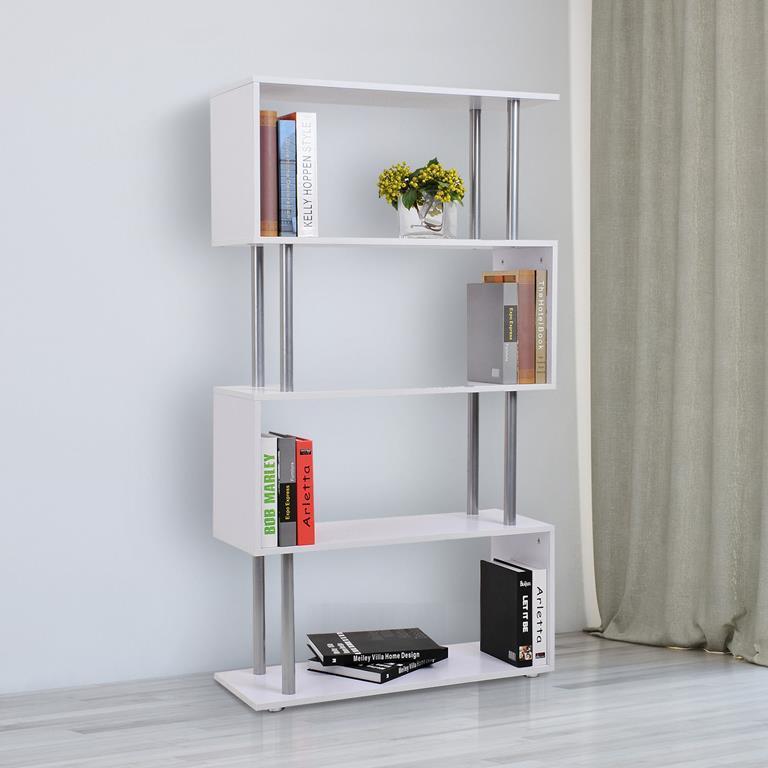 Libreria di Design Moderna 4 Ripiani, Bianco, 80x30x145cm - Homcom ...