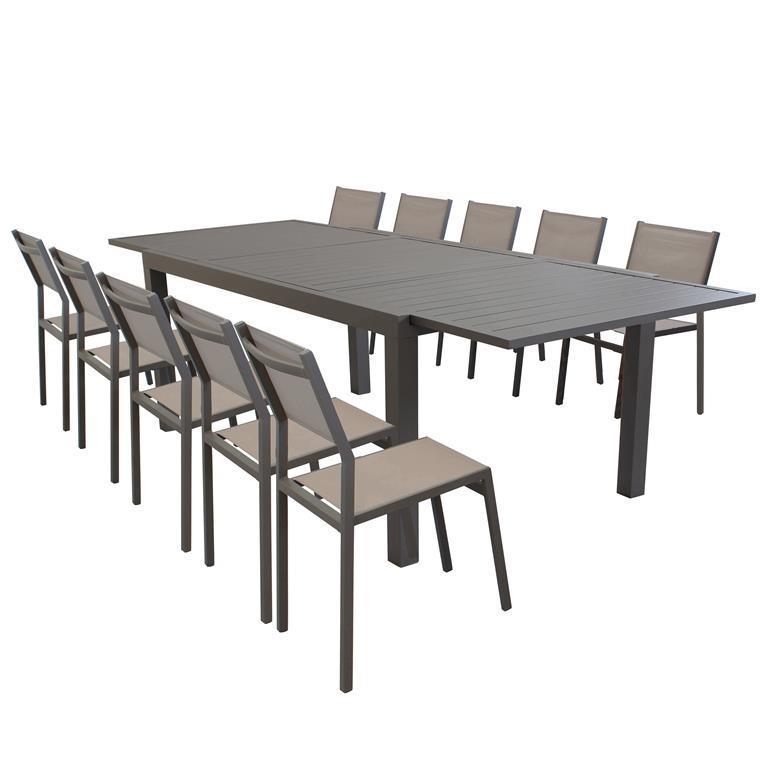 DEXTER. Set tavolo giardino rettangolare allungabile 200 ...