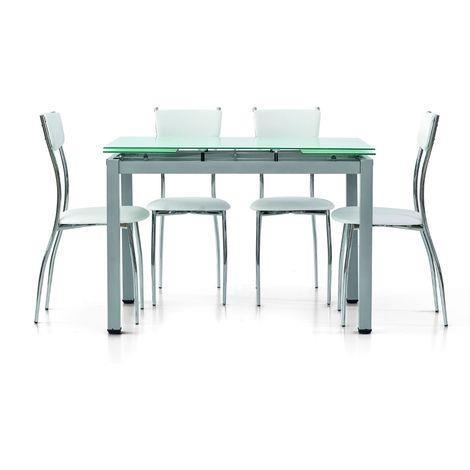 Tavolo 100 X 70 Allungabile.Tavolo Da Pranzo Moderno Di Design Allungabile Grigio Con Piano In
