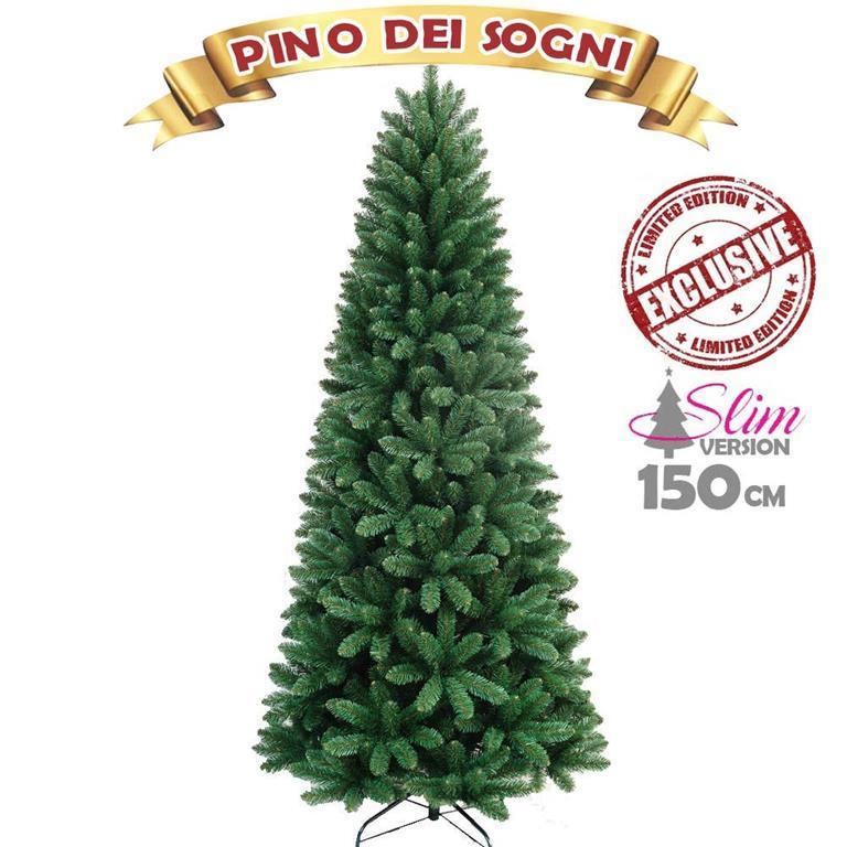 Albero Di Natale 150 Cm.Albero Di Natale Slim Pino Dei Desideri Altezza 150 Cm Base A Croce 425 Rami