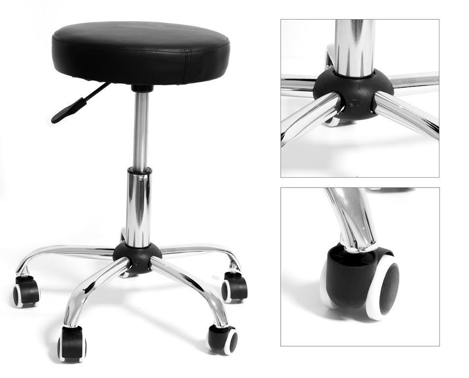 Sgabello con seduta imbottita tonda altezza regolabile zoe black