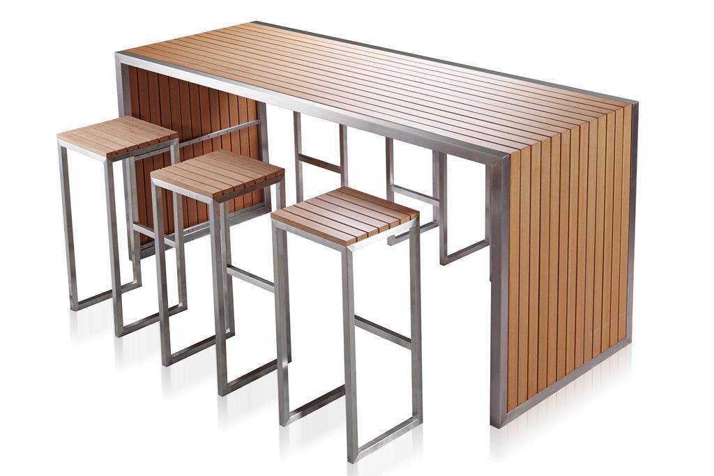 Sgabelli Bar Acciaio : Set bar tavolo sgabelli in acciaio e sumpar wood donatello