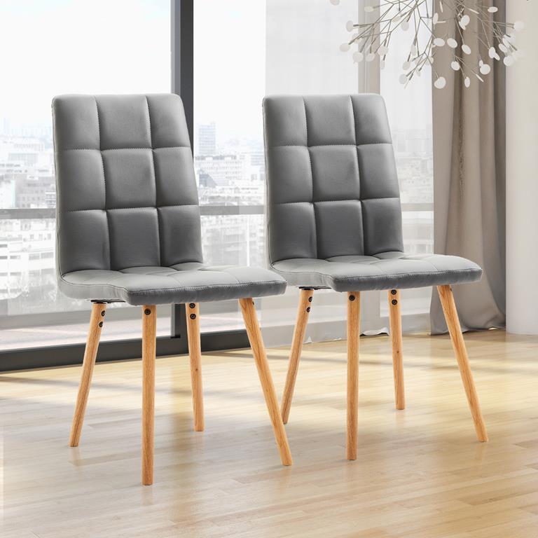 Homcom set 2 sedie moderne imbottite in ecopelle e legno for Sedie da cucina in ecopelle