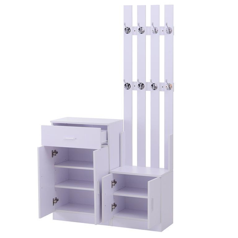 Mobile per Ingresso con Scarpiera e Appendiabiti in Legno Bianco, 100x32x187cm
