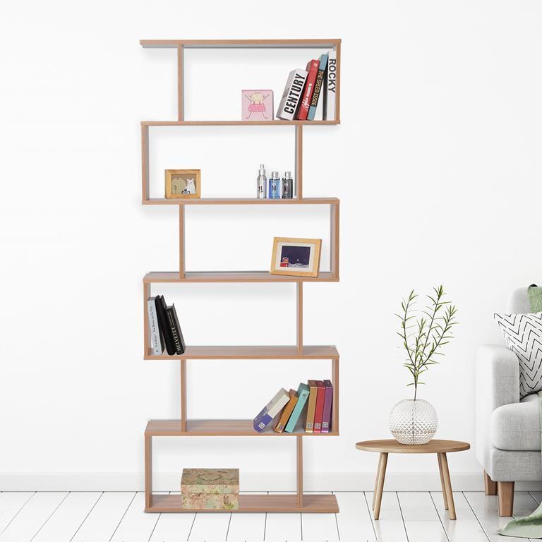 Libreria Design Moderno in Legno con 6 Ripiani, Legno Naturale, 80x23x192cm
