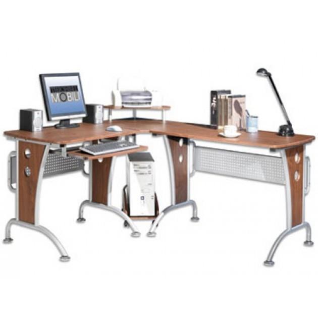 Scrivania Ad Angolo Per Computer.Techly Scrivania Per Computer Angolare In Ciliegio Ica Tb 3806a