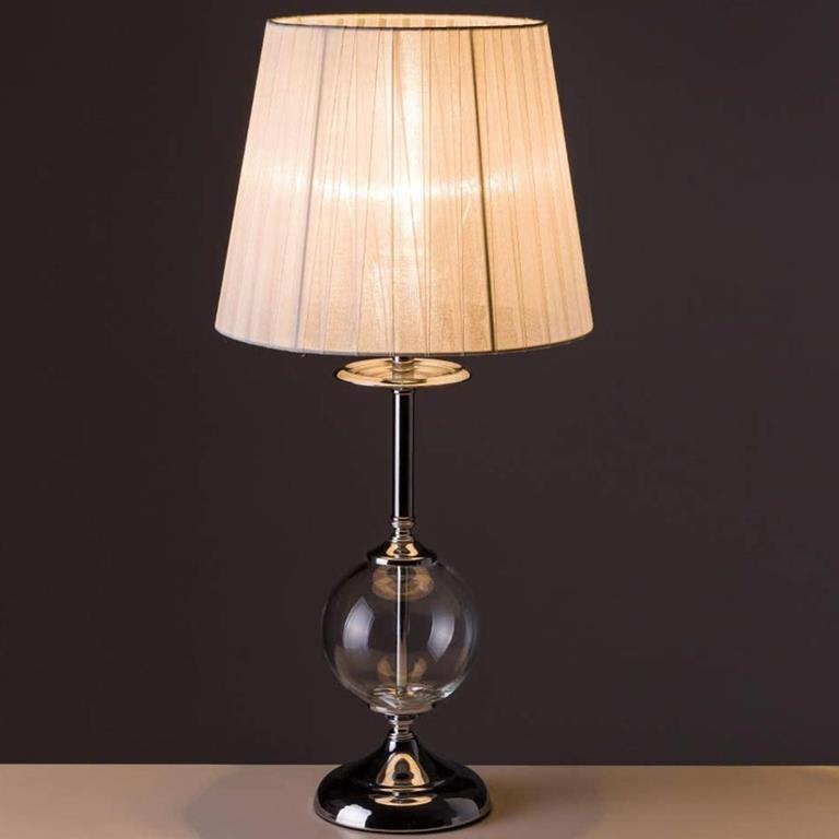 Lampada Da Tavolo Lume Da Comodino In Cristallo E Tessuto Bianco Abatjour 28x59 Nd Casa E Cucina Ibs