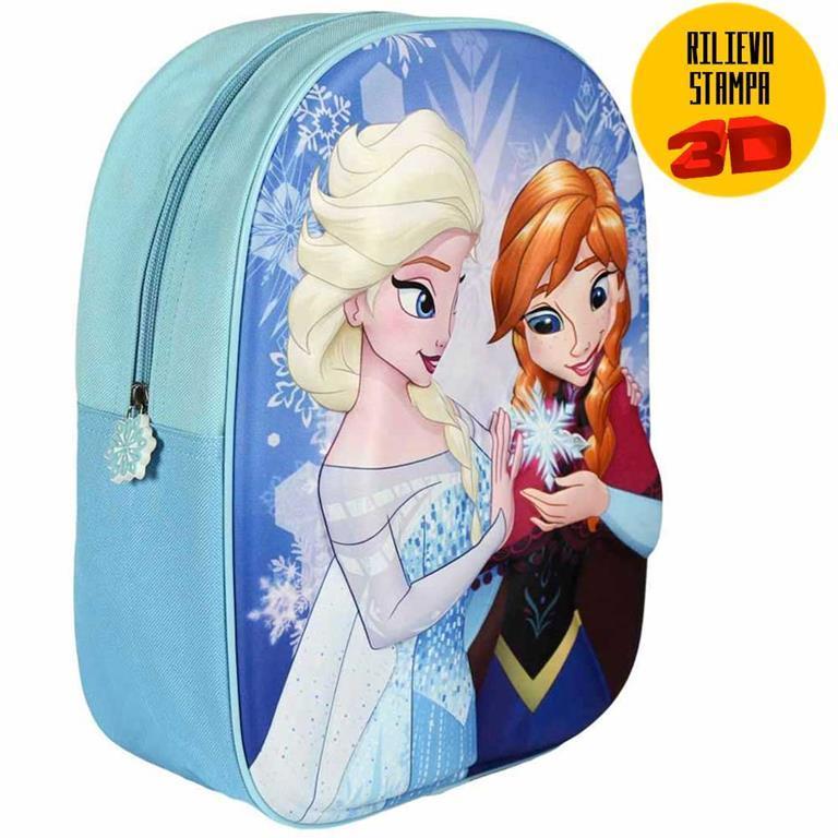 99dc7e657b Zainetto Frozen Elsa Anna Stampa Rilievo 3D Bambine Scuola Asilo Tempo  Libero