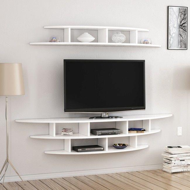 Parete Mobili Porta Tv Design.Mobile Porta Tv Alvino Moderno Da Parete Con Mensola Ripiani Da