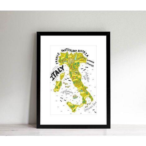 HOMEMANIA Quadro con Cornice. Cartina Italia. Con Disegni ...