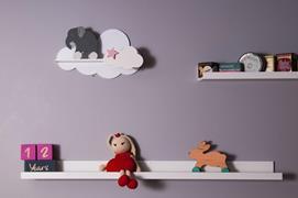 Mensole Cloud in bianco, grigio, blu e rosa, per la camera