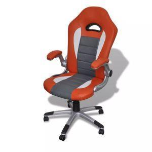 Sedia ufficio in pelle design moderno arancione vidaXL