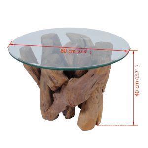 vidaXL Tavolino da Caff/è in Legno di Teac Solido 60 cm