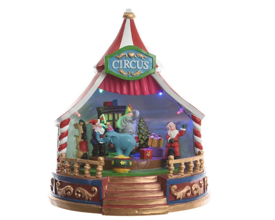 Circo natalizio 18x18x21 5cm con movimenti musica e illuminazione
