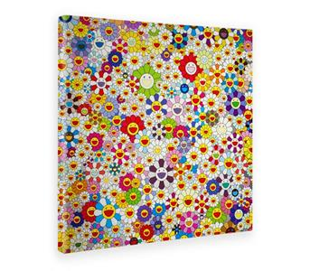 Giallo Bus. Quadro. Stampa Su Tela Canvas. Takashi Murakami. Flower In Heaven. 70 X 70 Cm