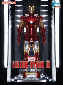 Giocattolo Action Hero Vignette. Iron Man 3. Hall of Armor Mk.VII Multi-Poseable include base illuminata a led (DR38126) Dragon 3