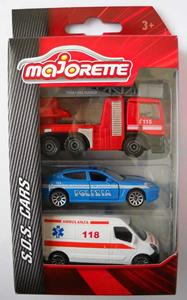 Giocattolo Majorette. Majo S.O.S.. Set Ambulanza, Macchina Polizia e Camion Vigili del Fuoco Majorette 1