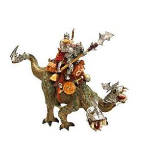 Giocattolo Dragons. Rettile d'attacco a due teste con 2 cavalieri Plastoy 1