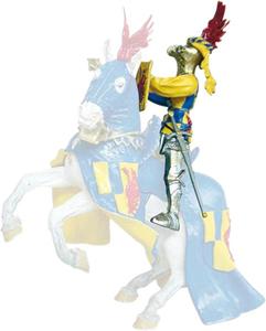 Giocattolo Cavalieri: Cavaliere Ali Blu, Rosso a Scacchi (a Piedi o Cavallo) Plastoy 1
