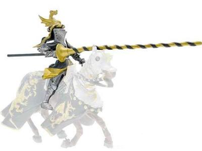 Giocattolo Cavalieri. Cavaliere con Elmo Drago Nero e Oro Plastoy 1