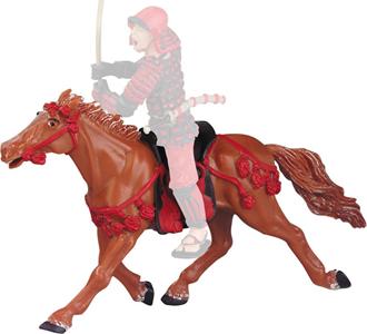 Giocattolo Samurai: Le Cheval Fauve Harnachement Rouge Plastoy 1