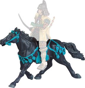 Giocattolo Samurai. Le Cheval Noir Harnachement Bleu Plastoy 1