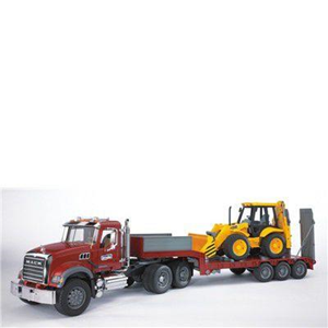 Giocattolo Camion Mack + Rimorchio + Escavatore (02813) Bruder 1