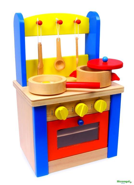 Giocattolo CUCINA CON ACCESSORI in Legno cm 24x19x38 per bambini ...