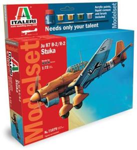 Giocattolo Aereo Ju-87 B-2 Stuka - (Kit + colori + colla + pennello) (71079S) Italeri 1