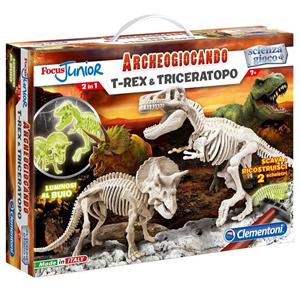 Giocattolo Focus Junior. Archeogiocando. T-Rex e Triceratopo Clementoni 3