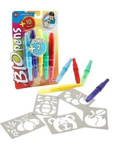Giocattolo Blo Pens. 5 Penne + 10 Stencil Auguri Preziosi 1