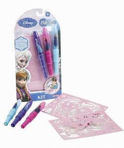 Giocattolo Blo Pens. Frozen. 3 Penne + 4 Stencil Auguri Preziosi 1